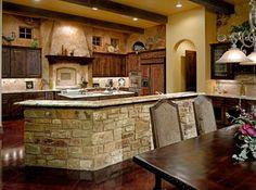 Cucina in pietra e mattoni