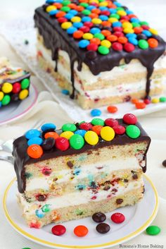 M&M's cake with cream cheese frosting and chocolate ganache recipe - a trEATs affair Chocolate Chip Cake, Chocolate Ganache, Chocolate Recipes, M&ms Cake, Cupcake Cakes, Cupcakes, Baking Recipes, Cake Recipes, Dessert Recipes