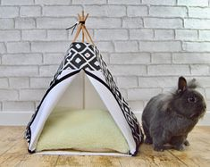 Rabbit teepee Guinea Pig bed Kitten tent with pillow - geometric pattern - black u0026 white - scandinavian design & Rabbit teepee Kitten teepee ferret tent with pillow - Mountain and ...
