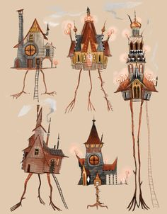 Buy 'Baba Yaga Houses' by cy-lindric as a iPhone Case, iPhone Wallet, Case/Skin for Samsung Galaxy, or Greeting Card Baba Yaga House, House Illustration, House Drawing, Visual Development, Art Plastique, Home Art, Art Reference, Fantasy Art, Fairy Tales