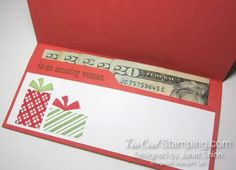Your Presents Birthday Money Holder for folded cash or check, gift cards, or gift certificate.  Learn more at TooCoolStamping.com