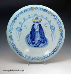 English Delftware Royal Portrait Charger of King William 111 , Brislington Bristol England late - Antique Staffordshire Pottery of John Howard Elgin Marbles, Defender Of The Faith, Bristol England, Renaissance Portraits, King William, London Tours, Antique Pottery, Glazes For Pottery, Delft