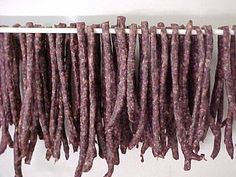 A South African dried sausage. Dried Sausage Recipe, Homemade Sausage Recipes, Venison Recipes, Meat Recipes, South African Dishes, West African Food, South African Recipes, Meat Stick Recipe, African Recipe Book