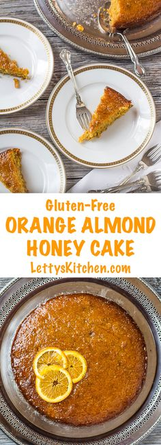 The honey orange glaze soaks into this gluten-free Orange Almond Honey Cake. Delicious with almond flour, cornmeal, carrots and cinnamon and cardamom spice.