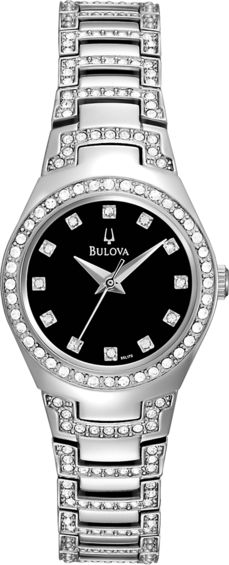 Ladies Bulova features Swarovski Crystal Embellishment. Available at Gittelson Jewelers