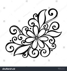Beautiful Decorative Flower with Leaves, Patterned design