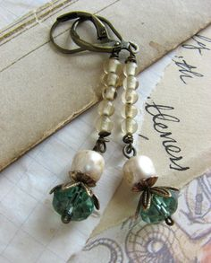 Aqua Blue Vintage Assemblage Earrings -yellow, vintage pearl, antique brass, long dangle