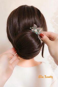 Korean Hairstyle Long, Hairdo For Long Hair, Short Hair Updo, Bridal Hairdo, Bridal Hair And Makeup, Easy Little Girl Hairstyles, Easy Hairstyles, Hair Style Vedio, Medium Hair Styles
