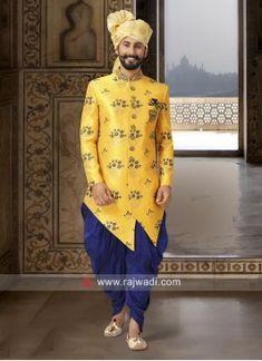 Indo western dresses for men online shopping Wedding Dress For Boys, Wedding Kurta For Men, Yellow Wedding Dress, Wedding Dresses Men Indian, Party Wear Indian Dresses, Wedding Outfits, Wedding Wear, Kurta Men, Boys Kurta
