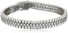 Platinum-Plated Sterling Silver Swarovski Zirconia 3 Row Tennis Bracelet *** Be sure to check out this awesome product affiliate link Amazon.com