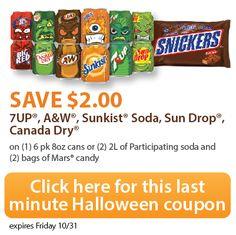 Cupón especial de ultimo minuto para ahorrar en Halloween. Descuento para tu compra de Dr Pepper y Mars candy #shop #ScarySavings #CollectiveBias