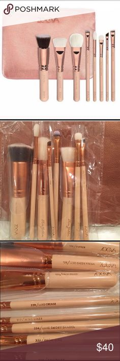 Zoeva 8pc makeup brush set Zoeve 8pc rose gold make up brush set with pouch. NEW Zoeva Makeup