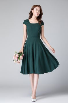 Vintage Green linen Dress, Wedding guest dress, Women fitted midi dress, bridesmaid fit and flare dress, Bohemian swing dress 1904 50s Dresses, Linen Dresses, Vintage Dresses, Short Dresses, Dresses With Sleeves, Cap Sleeves, Evening Dresses, Casual Dresses, Fashion Dresses