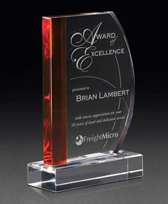 Picture of Cherished Scarlet Crystal Award