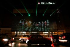 Heineken at 140 - a projection video wall made out of 5,000 beer bottles.
