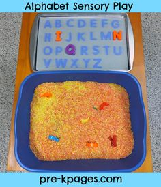 "This could be our ""focus"" word for teaching letters and their sounds supplies: Magnetic Cookie Sheet {Dollar Tree} Magnetic Letters Sensory bin, tub, or table Dark Construction Paper Laminating Film Filler for your sensory tub, bin, or table. I used colored rice but you could use moon sand, shredded paper, or anything that will cover the letters."