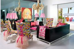 Love this!! (Minus the creepy hair chandelier; that's no bueno)    From the life-sized Barbie Malibu Dream House designed by Jonathan Adler.
