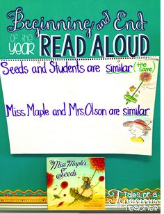 Miss Maple's Seeds...: The Perfect Read Aloud for the first day of school... and the last!  This post describes when and why this teacher revisits this read aloud throughout the year!