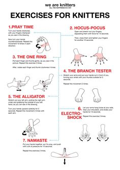 Take a break from knitting and try these hand exercises for knitters!