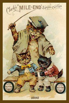 Clark's Mile-End Spool Cotton vintage advertising card, ca.1890