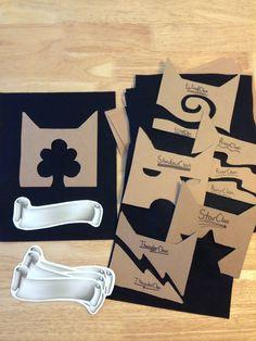 Cat Clan craft. Cardboard templates, felt, glue, paper banner to write cat name.