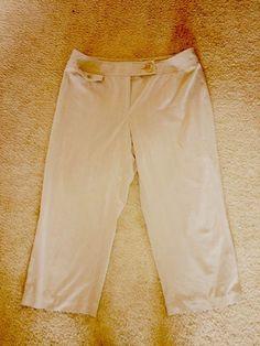 Style & Co. Women's Beige Khaki Pin Stripe Stretch Capri Dress Pants Slacks 16 #Styleco #DressPants