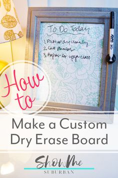 Get your life organized with a custom dry erase board. This quick and easy DIY project is only 3 steps, and also makes a great gift! Spring Cleaning Checklist, Cleaning Lists, Cleaning Schedules, Speed Cleaning, Weekly Cleaning, Kids Sleep, Child Sleep, Craft Organization, Organizing