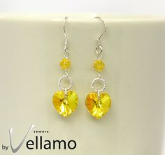 Sterling silver earrings with bright yellow heart by byVellamo, $16.00