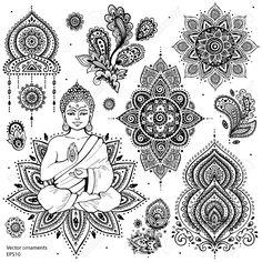 Tatto Ideas 2017 Woman Flower Vecteurs de stock et clip-Art vectoriel Mandala Tattoo Design, Dotwork Tattoo Mandala, Mandala Art, Mandala Symbols, Ganesha Tattoo, Buddha Tattoo Design, Indian Mandala, Simbolos Tattoo, Body Art Tattoos