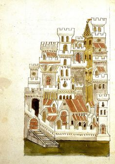) c, 1467 Egerton 1900 BL Medieval World, Medieval Art, Renaissance Art, Medieval Drawings, Medieval Paintings, Winter Illustration, Illustration Art, 3d Art Projects, City Drawing