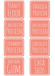 Free kitchen label printables in coral color from our friend @jen Jones