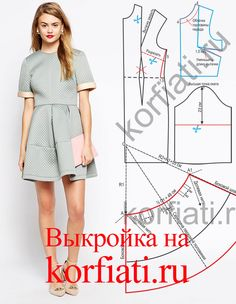 Pattern of women's clothing from Anastasia Korfiati Clothes Crafts, Sewing Clothes, Blouse Patterns, Clothing Patterns, Women's Clothing, Robe Diy, Neoprene Fashion, Costura Diy, Modelista