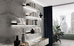 Eos floating shelves by Rimadesio. Exclusive European Brand Collections from Pure Interiors.