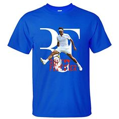 CONOC Men's Perfect RF Roger Federer Wimbledon Tennis Short Sleeve Cotton T Shirt blue M * Find out more about the great product at the image link.