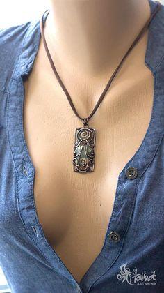 Square copper wire wrapped pendant // Fantasy wire wrapped
