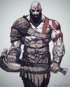 ArtStation - Kratos(God of War soonjae hong Video Game Characters, Fantasy Characters, Character Art, Character Design, Kratos God Of War, Nintendo 2ds, Greek Mythology, Geek Culture, Character Illustration