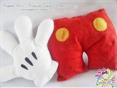 Almofada Mickey - Mãozinha e Short do Mickey - Plugados Art's - Produtos Personalizados para sua festa!!
