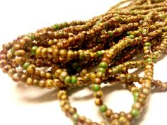 Czech Glass Age Striped Size 11/0 Picasso Mixed Seed Beads Hank by offthebeadingpathva on Etsy