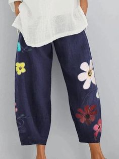 Style Casual Pattern Floral Detail Printed Length Long Material Linen Polyester Season All season Occasion Daily life Going out Floral Print Pants, Floral Shorts, Floral Prints, Long Sleeve Midi Dress, Maxi Dress With Sleeves, Dress Over Pants, Wide Leg Linen Pants, Pants For Women, Clothes For Women