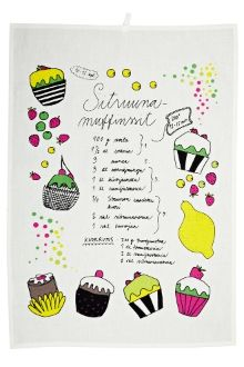 Muffinssi l Muffin kitchen towel by Anu Kanervo for Finlayson with a lemon muffin recipe Lemon Muffins, Muffin Recipes, Taste Buds, Kitchen Towels, Bullet Journal, My Love, Products, Kitchen Tablecloths, Lemon Cupcakes