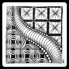 """""""The pattern Da'Deal looked nice to me, so I put it in my tile, opposite of Zonked and something-with-no-name in the middle"""", drawn by Ilse Lukken / Zentangle Zoo, April 2015."""