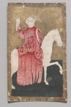 A Queen falconer playing card from the Ambras Hunting Deck. Swiss (?), pen and ink, gouache, gold, and paper on board, circa 1440-1445. Dimensions: 15.8 x 9.8 cm. Courtesy of KHM Bilddatenbank website.