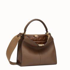 583bac0f1a0e FENDI PEEKABOO X-LITE REGULAR - Brown leather bag - view 3 detail Peekaboo  Fendi