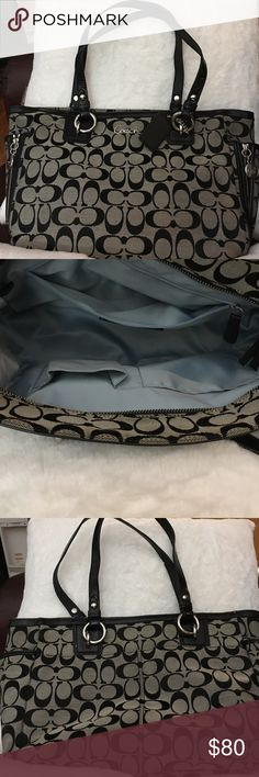 Authentic! COACH signature tote bag Black/Gray❤ Coach Signature Tote/Shoulder Bag Black/Gray Model number F17109. Excellent Condition.😀  Size: Approximately H22.5cm × W39cm × D11cm Handle length: About 20 cm from shoulder to handle MaterialCanvas / leather Handle / lineSignature ColorBlue (inside) StorageZipper closure Outside: open Pocket × 3 Inside: 1 zipper closure pocket and 2 open pockets for cell phone and others.❤ Coach Bags Shoulder Bags