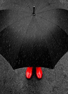 Abstract photography Red shoes under umbrella in the rain
