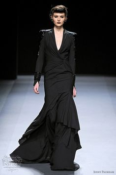 jenny packham fall 2012 black long sleeve dress