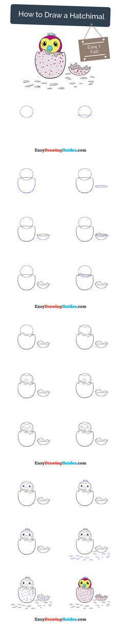 Learn How to Draw a Hatchimal: Easy Step-by-Step Drawing Tutorial for Kids and Beginners. #hatchimal #drawing. See the full tutorial at https://easydrawingguides.com/how-to-draw-a-hatchimal/