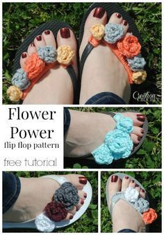 Flower Power flip flop pattern.  Free tutorial has pattern for flowers in 4 different sizes.  So many different possiblities and color combos. Try this with Lion Brand Bonbons!
