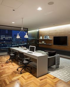Desk In Living Room, Small Living Rooms, Small Modern Home, Trendy Home, Office Interior Design, Office Interiors, Home Office Setup, Office Ideas, Luxury Homes Interior