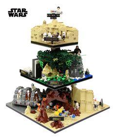 Three-tiered LEGO diorama recreates every Star Wars movie